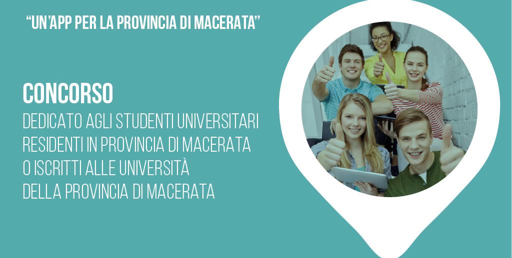 """""""Un app per la provincia di Macerata"""" Concorso dedicato agli studenti universitari residenti in provincia di Macerata o iscritti alle Università del territorio della provincia di Macerata"""