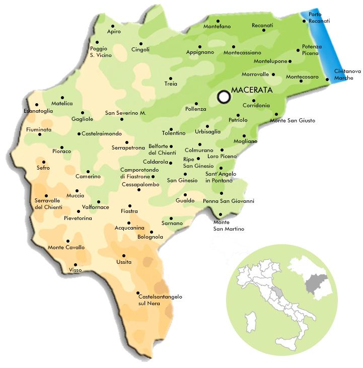 Le Marche Cartina Politica.Comuni Portale Territoriale Della Provincia Di Macerata